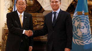 O presidente argentino, Mauricio Macri, e o secretário-geral da ONU, Ban Ki-moon, na Casa Rosada nesta segunda-feira (8).