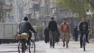 Dans un quartier de la banlieue est de Damas, le 9 mars 2014.