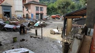 Breil-sur-Roya, dans les Alpes Maritimes (sud-est de la France), un village ravagé par la tempête Alex.