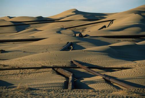 Un gazoduc dans le désert du Turménistan.