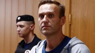 Алексей Навальный в зале Тверского суда Москвы. 27 августа 2018 г.