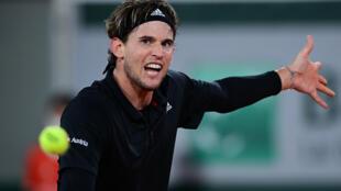 L'Autrichien Dominic Thiem face à Hugo Gaston au 4e tour de Roland-Garros, le 4 octobre 2020