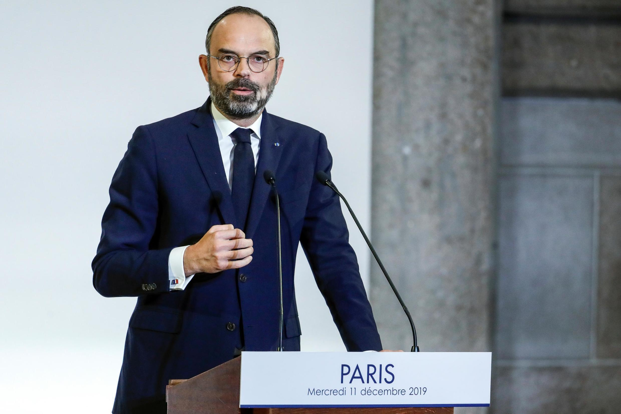 French Prime Minister Edouard Philippe unveils the details of a pensions reform plan before the CESE (Economic, Social and Environmental Council) in Paris, France December 11, 2019.