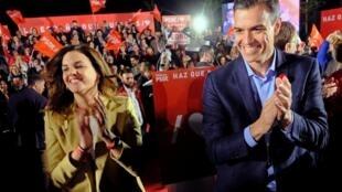 Le chef du gouvernement espagnol Pedro Sanchez lors du meeting de fin de campagne de son parti, le PSOE, à Valence, le 26 avril 2019.