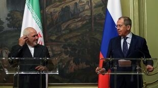 Russian Foreign Minister Sergei Lavrov and his Iranian counterpart Mohammad Javad Zarif meet in Moscow on June 16, 2020 as the United States presses to extend a UN arms embargo on Iran