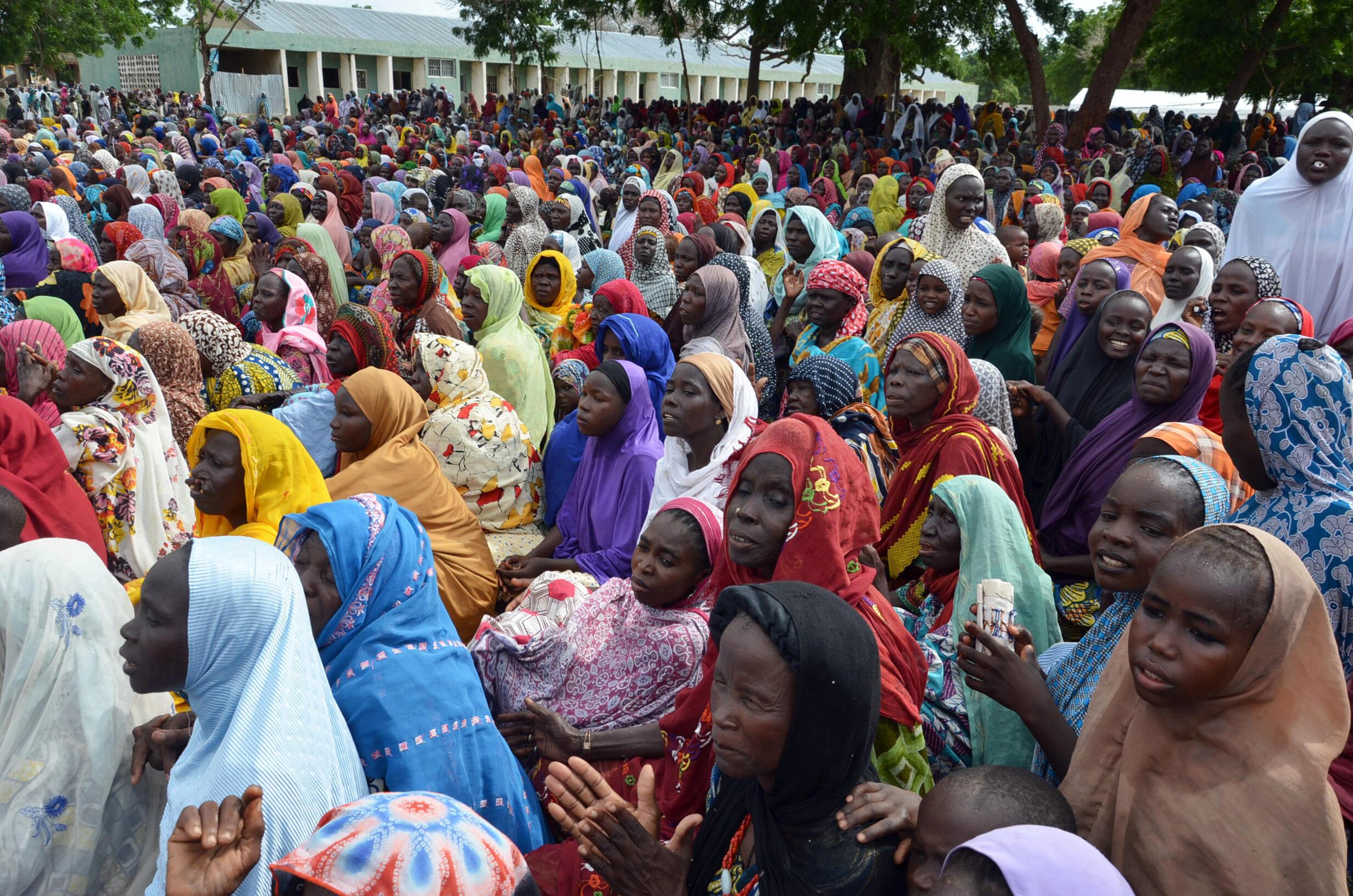 Wasu 'yan gudun hijirar Boko Haram a wani sansani da ke birnin Maiduguri na Borno a Najeriya