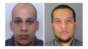 Photo de l'appel à témoins du ministère de l'Intérieur concernant les deux frères Kouachi (Chérif et Saïd, de g. à d.), recherchés dans le cadre de l'enquête sur l'attentat contre Charlie Hebdo.