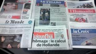 Primeiras páginas dos jornais franceses de 18/01/2016