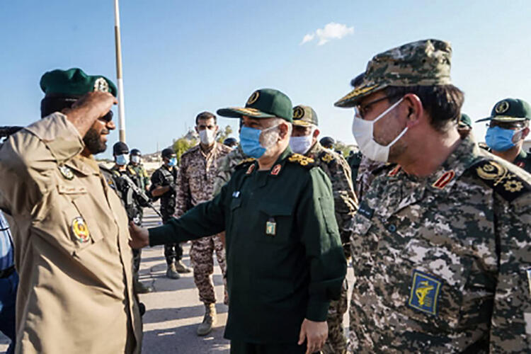 Iran's Revolutionary Guard Corps chief Major General Hossein Salami, in the centre of the photo, inspected troops on the island of Abu Musa