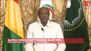 Le président Alpha Condé lors de son entretien exclusif avec RFI et France 24, le 6 octobre 2020.
