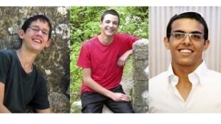 Picha za wanafunzi 3 wa kkisrael ambazo ziliunganishwa , Naftali Fraenkel miaka 16 (kushoto), , Gil-Ad Shaer, miaka 16 (katikati), na Eyal Yifrah, miaka 19 (kulia).