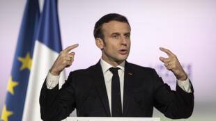 Le président français Emmanuel Macron, le 18 février 2020.