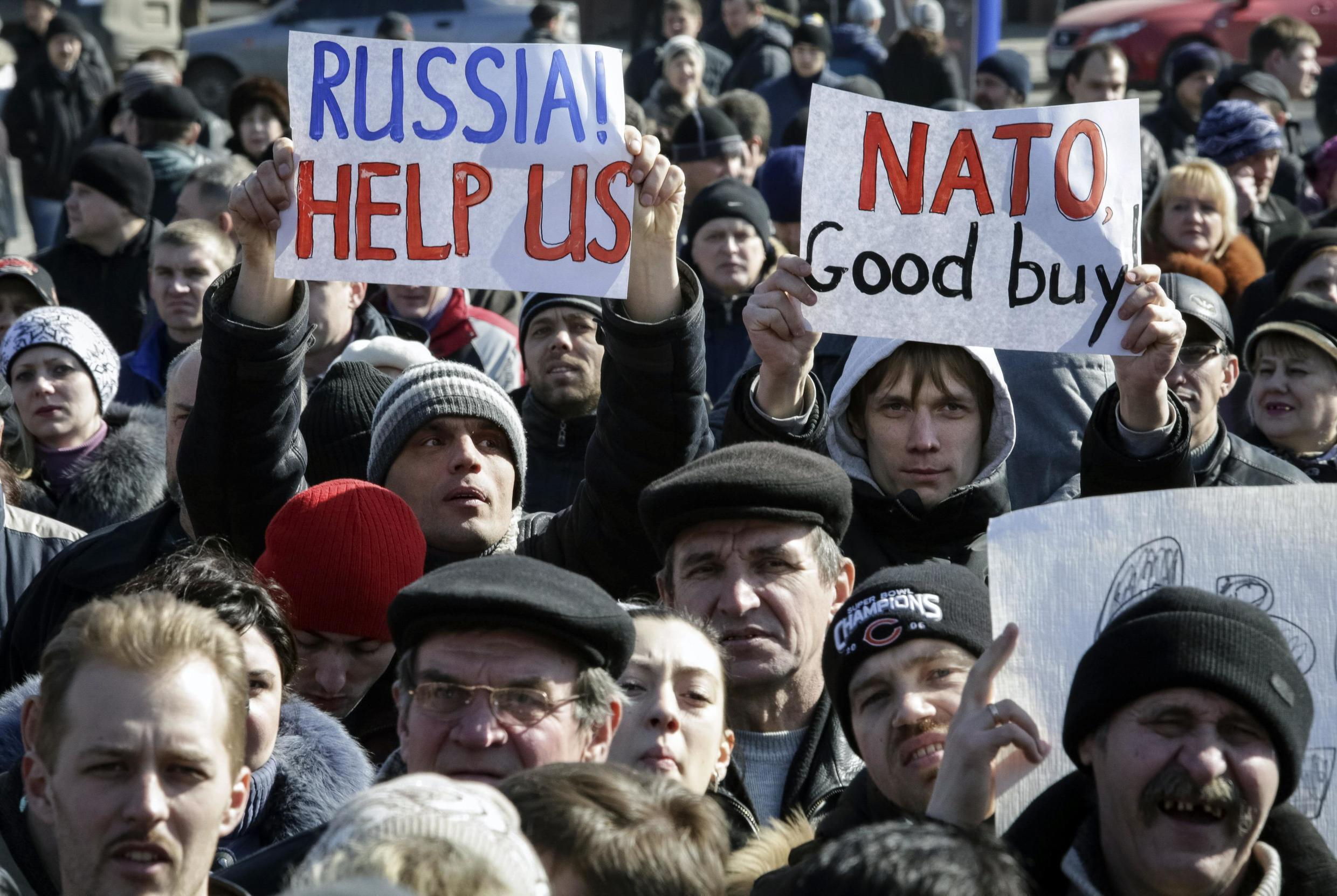 A demonstration in Donestk in favour of Crimea joining Russia
