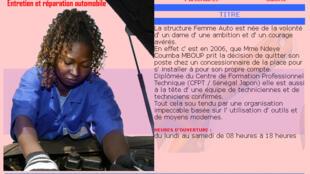 Page d'accueil du site internet du garage Femme Auto.