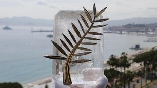 A Chopard representative displays the Palme d'Or, the highest prize awarded to competing films