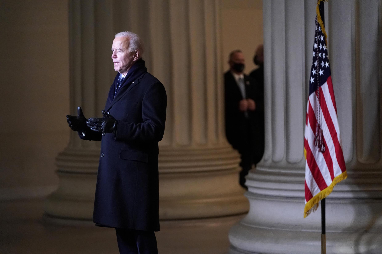 2021年1月20日,民主黨人拜登宣誓就職為美國第46位總統,在就職典禮上發表全國講話。
