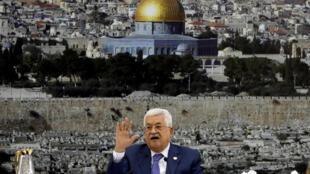 O presidente palestino Mahmoud Abbas durante uma reunião da Autoridade palestina em Ramallah, em 25 de julho de 2019