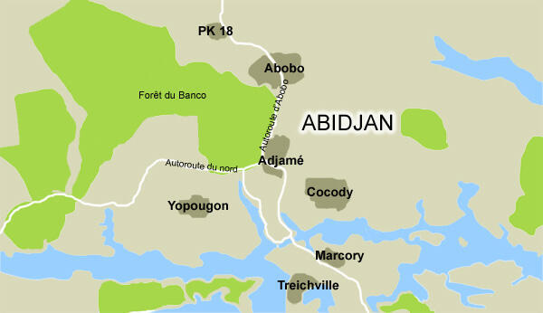 Quartiers d'Abidjan touchés par la crise politique ivoirienne