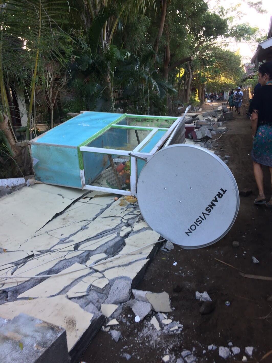 Aftermath of August 5th earthquake in Gili Trawangan, Lombok