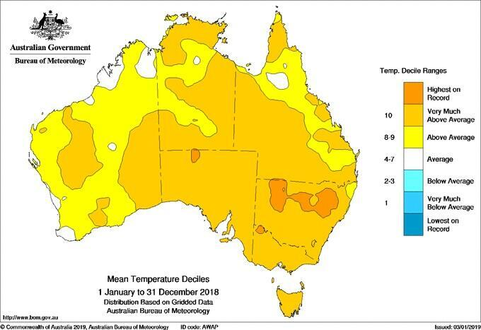 Average temperatures in 2018 were above average for nearly all of Australia.