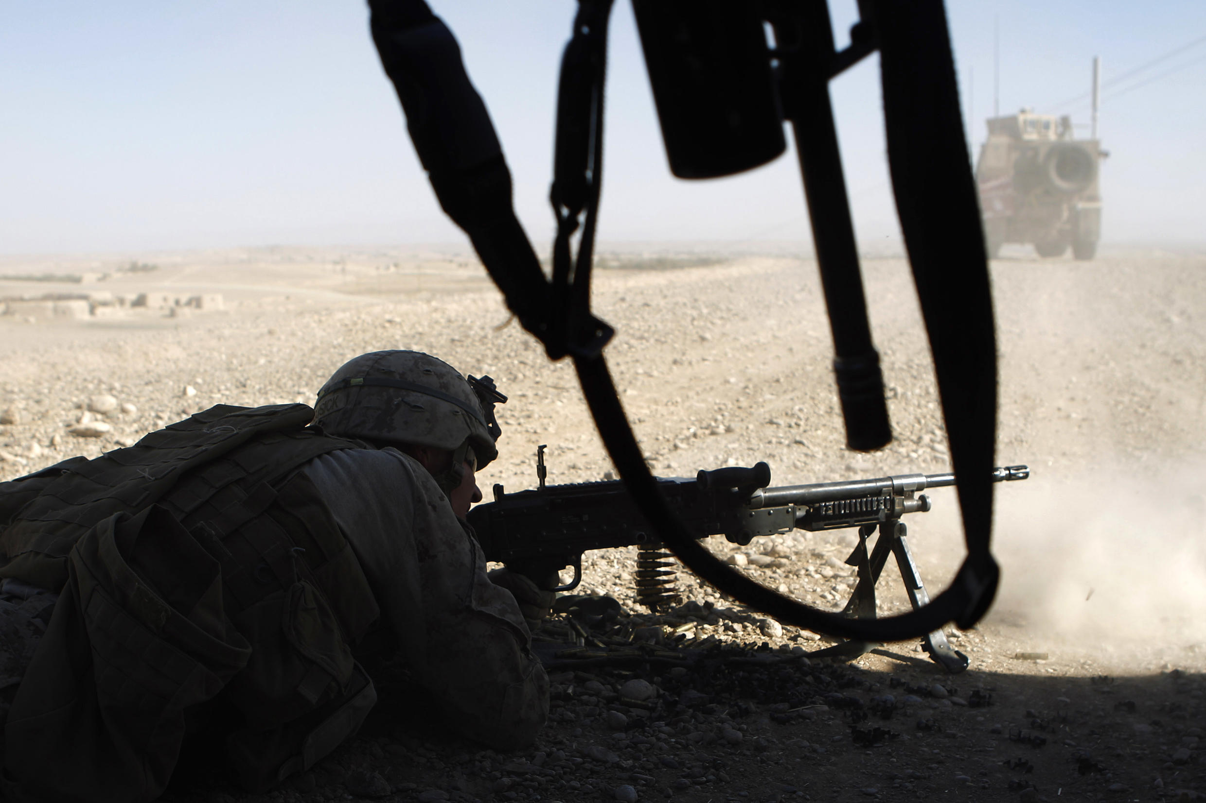 An American soldier fights Taliban earlier this month