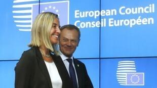 Donald Tusk et Federica Mogherini.