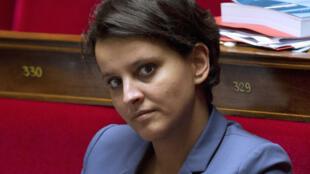 La ministra Najat Vallaud-Belkacem en la Asamblea nacional, 9 de octobre de 2013.
