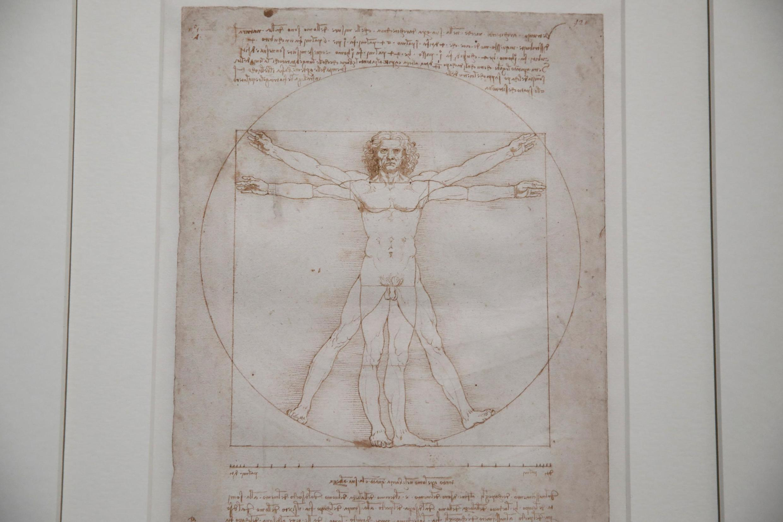 達芬奇名畫之一《維特魯威人》於1490年用羽毛筆和墨水在洗過的紙上繪成