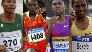 Les grands absents de Nairobi 2010 : Olusoji Fasuba, Françoise Mbango, Caster Semenya et Kenenisa Bekele (de gauche à droite).