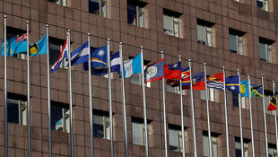 台中华民国邦交国所罗门群岛的旗帜(右二)在台北一座各国外交使团使用的大楼前飘扬。2016年12月23日