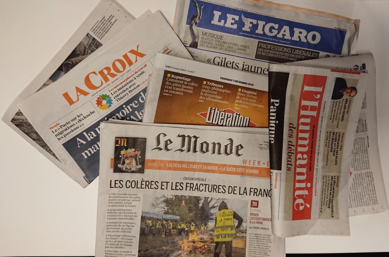 Primeiras páginas dos jornais franceses de 07 de dezembro de 2018