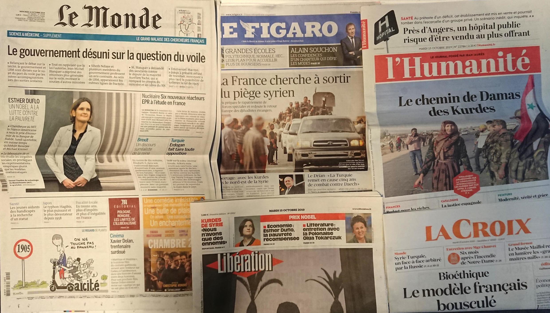 Jornais franceses desta terça-feira 15 de Outubro.