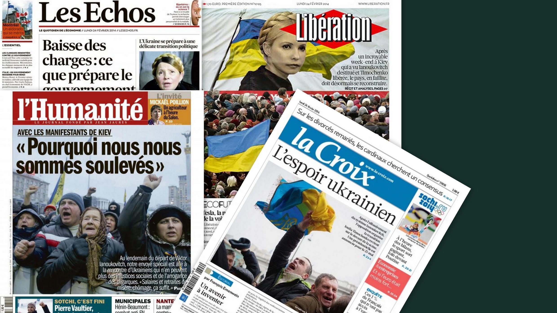 Capa dos jornais franceses L'Humanité, Les Echos, Libération e La Croix desta segunda-feira, 24 de fevereiro de 2014.