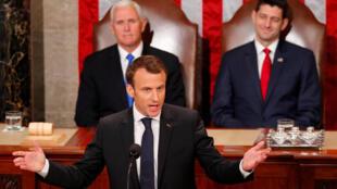 Tổng thống Pháp Emmanuel Macron phát biểu trước lưỡng viện Quốc Hội Mỹ tại Washington, ngày 25/04/2018