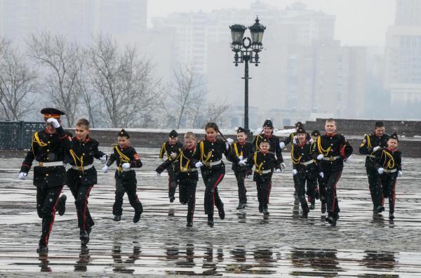 После смотра строя и песни воспитанников кадетских корпусов со всей России, Москва, 29 марта 2019 г.