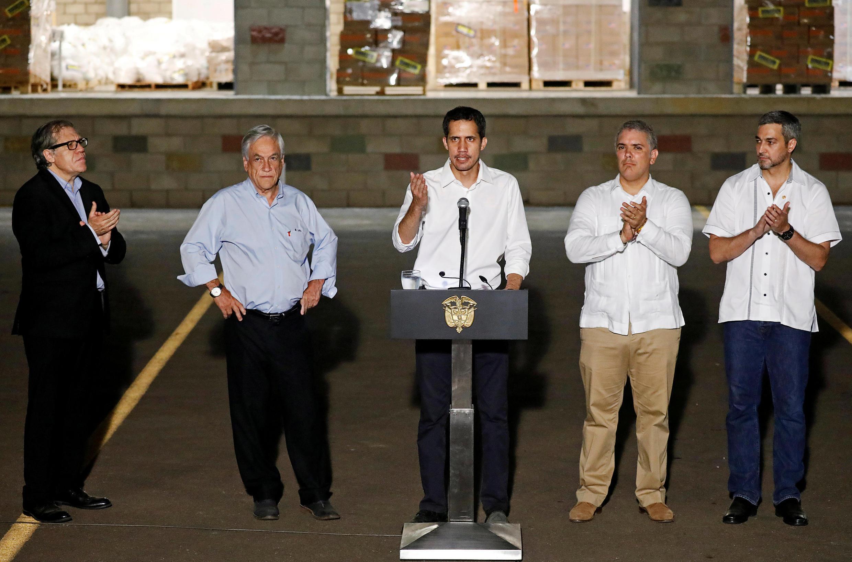 Presidents Ivan Duque (Colombia), Mario Abdo Benitez, (Paraguay), Sebastián Piñera (Chile) and OEA's General Secretary Luis Almagro alongside Venezuela's self-proclaimed President Juan Guaido.
