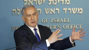 O Primeiro-ministro de Israel, Benyamin Netanyahu . Jerusalém 02 de Abril de 2018