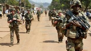 French soldiers patrol on the streets in Bangui