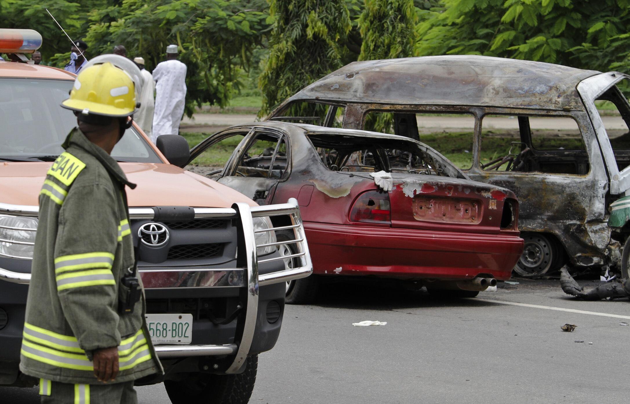 The bomb scene in Abuja on 1 October 2010