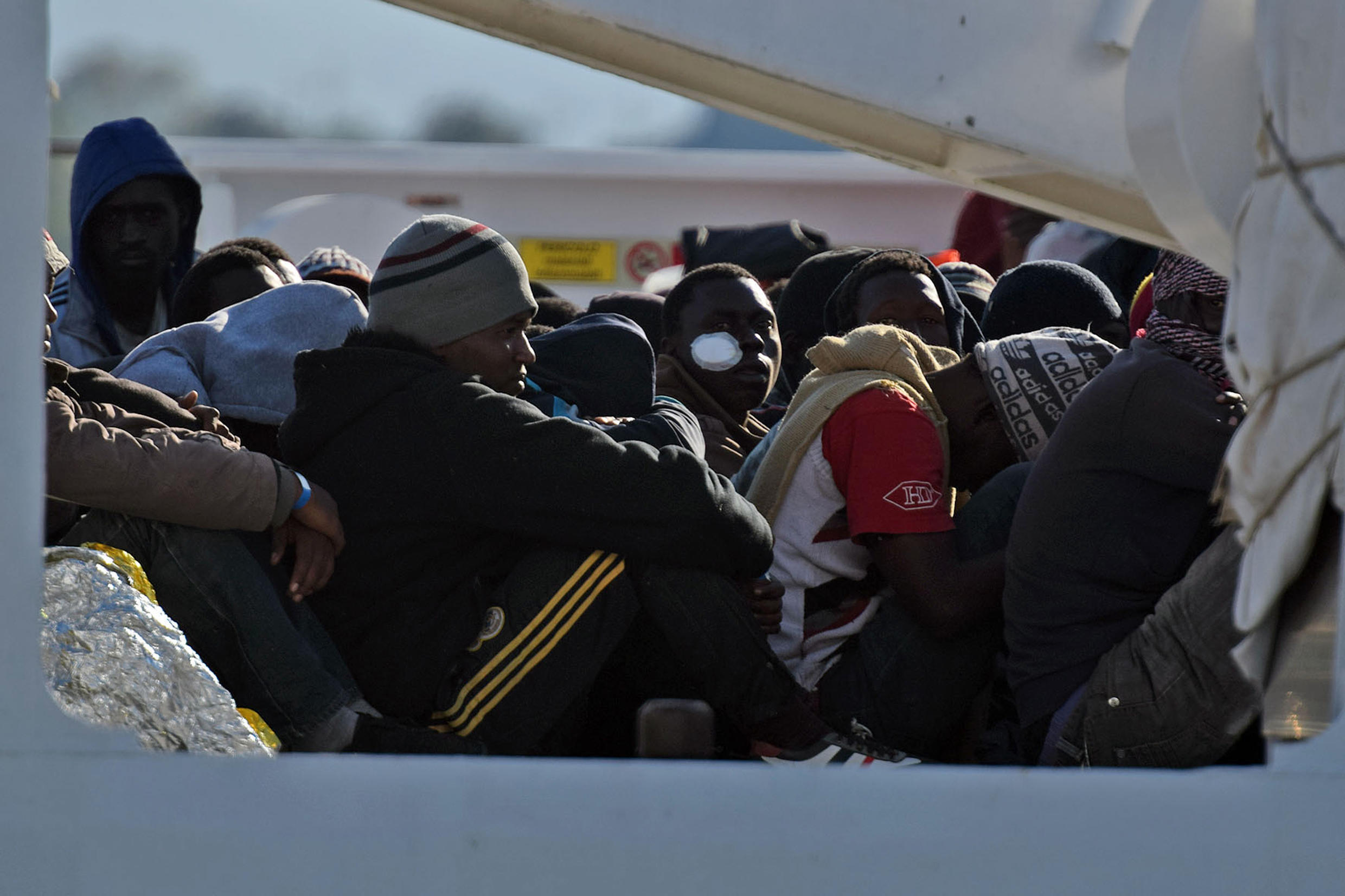 Survivors of a shipwreck in the Mediterranean on 16 April