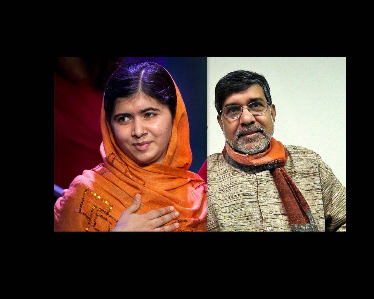 """جایزه صلح نوبل ٢٠١٤ مشترکاً به """"ملالا یوسف زی"""" و """"کایلکاش ساتیراتی"""" اهدا شد."""