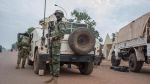 Un contingent portugais de la Minusca qui a mené une attaque contre le groupe d'autodéfense du PK5, un quartier de Bangui à majorité musulmane, le 8 avril 2018.