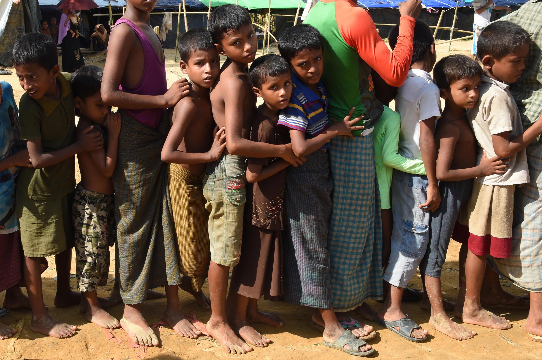 資料圖片: 孟加拉國某地羅興亞難民營中的兒童。攝於2017年9月22日。