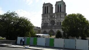Barriers were erected around Notre-Dame cathedral in Paris to prevent access after the fire in April 2019.