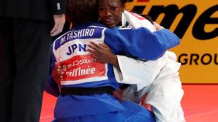 Clarisse Agbegnenou, après sa victoire en finale des Championnats du monde de Tokyo contre Miku Tashiro, ce mercredi 28 août 2019.
