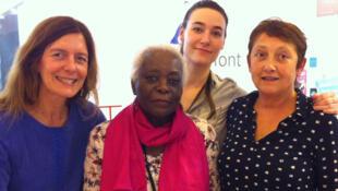 De g. à dr. : Valérie Nivelon, Aimée Mambou Gnali, Héloïse Kiriakou et Françoise Blum, lors de l'enregistrement de La Marche du monde, à Paris Livre.