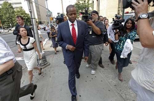 Kenneth Thompson leaves the offices of Manhattan District Attorney Cyrus Vance in New York