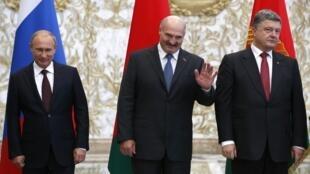 В.Путин, А. Лукашенко, П.Порошенко, Минск, 26 августа 2014 года