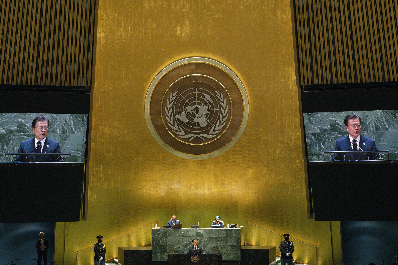 El presidente de Corea del Sur, Moon Jae-in, se dirige a la 76ª sesión de la Asamblea General de la ONU el 21 de septiembre de 2021 en Nueva York
