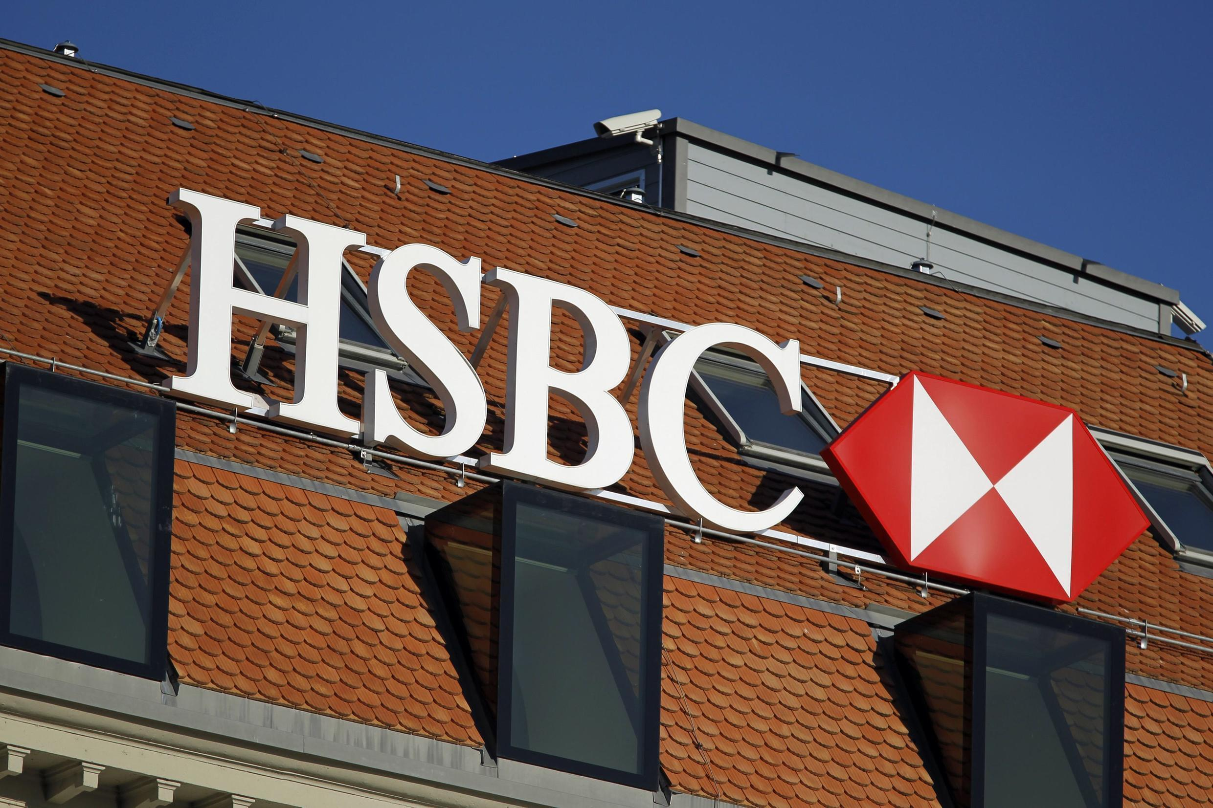 An HSBC logo in Geneva, February 2015. HSBC's Swiss subsidiary is being pursued by French authorities